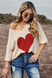 The Emerald Fox Boutique Beige V-neck Dropped Sleeve Heart Print Slouchy Top - Product Mini Image