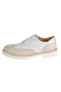 Pascucci Beige-White Leather Brogue - Product List Image