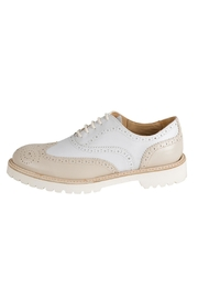 Pascucci Beige-White Leather Brogue - Product Mini Image