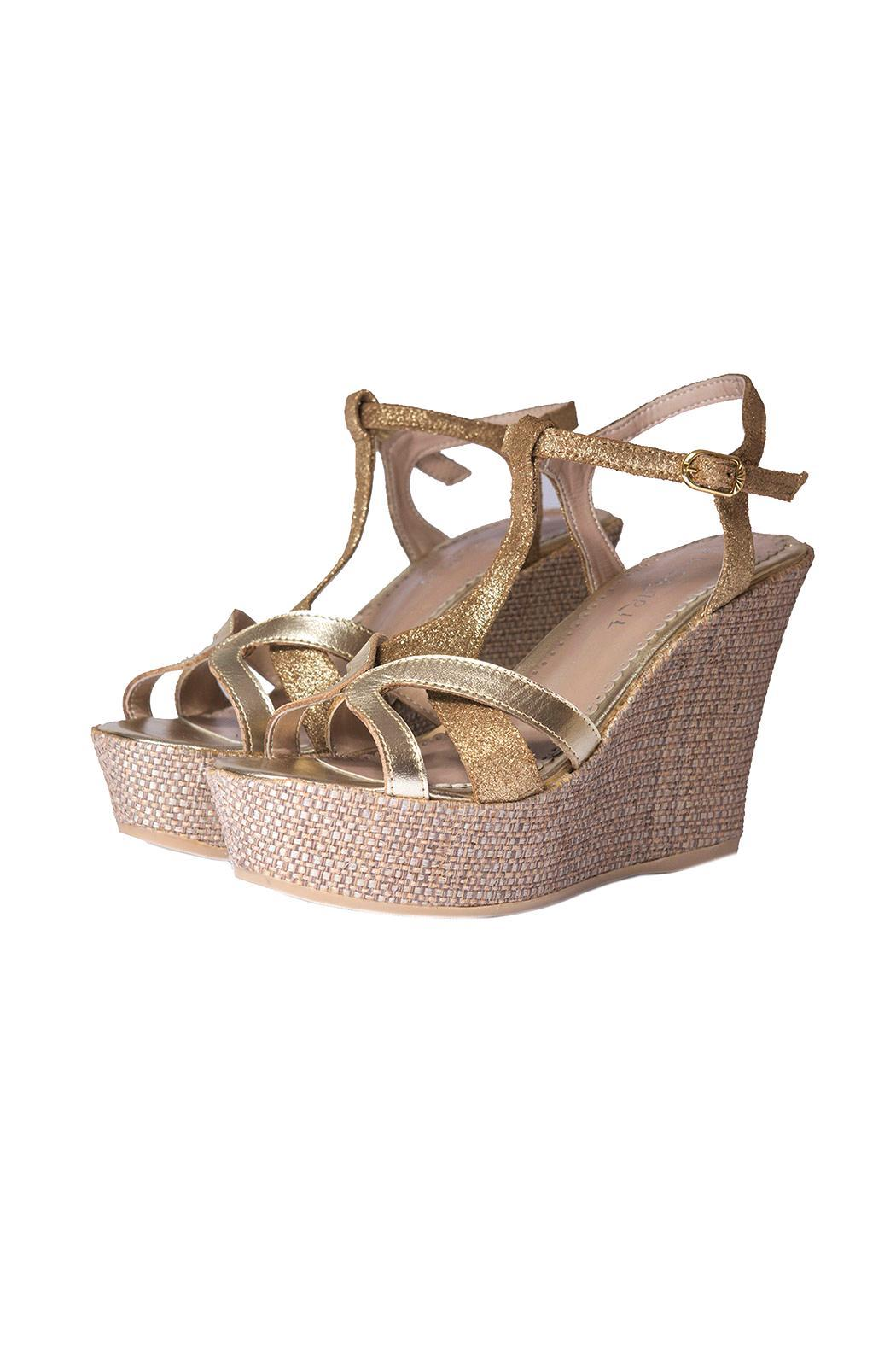 Bel Carril Metallic Megan Wedge - Front Full Image