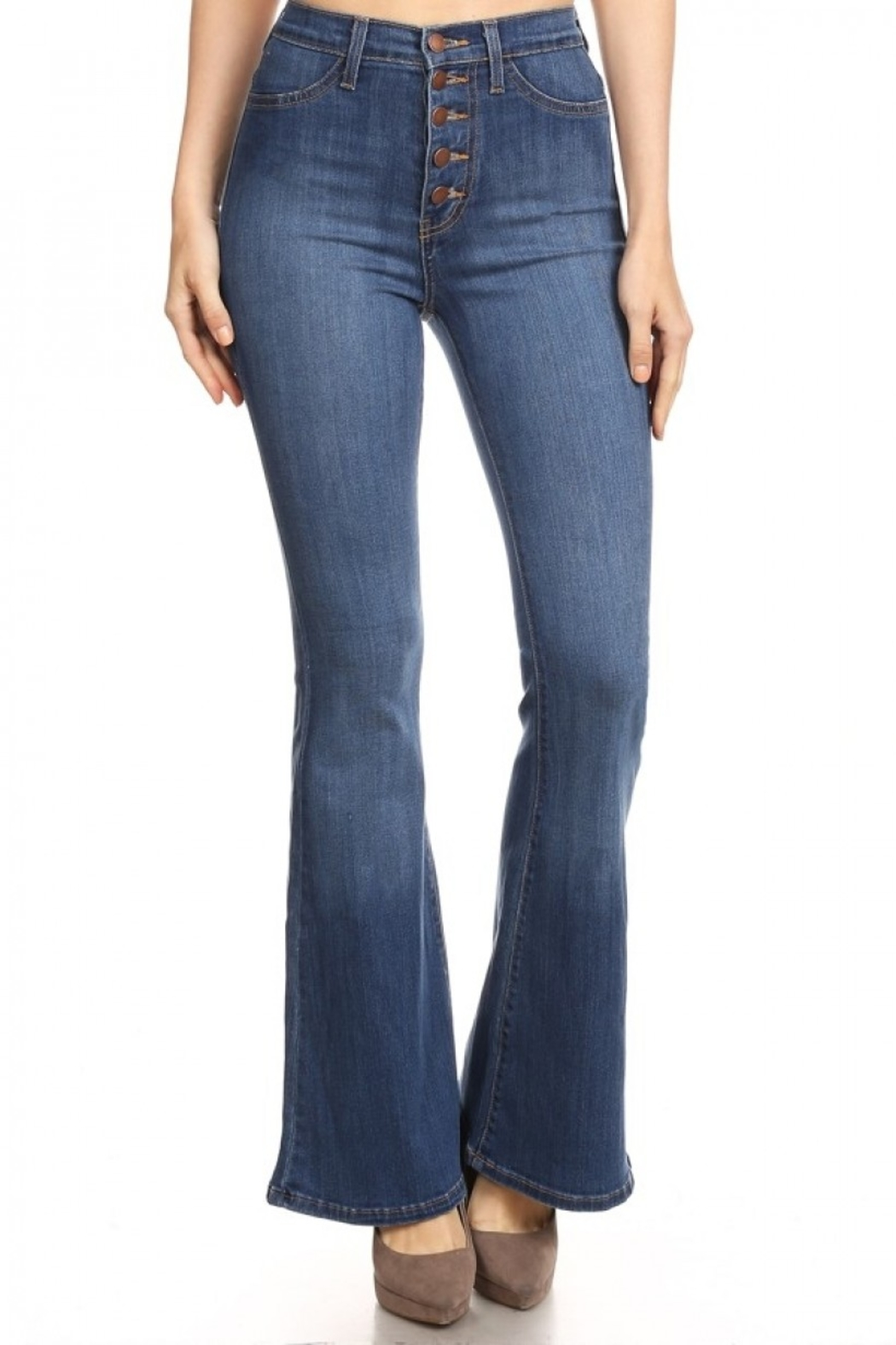 Vibrant MIU Bell Bottom Jeans - Main Image