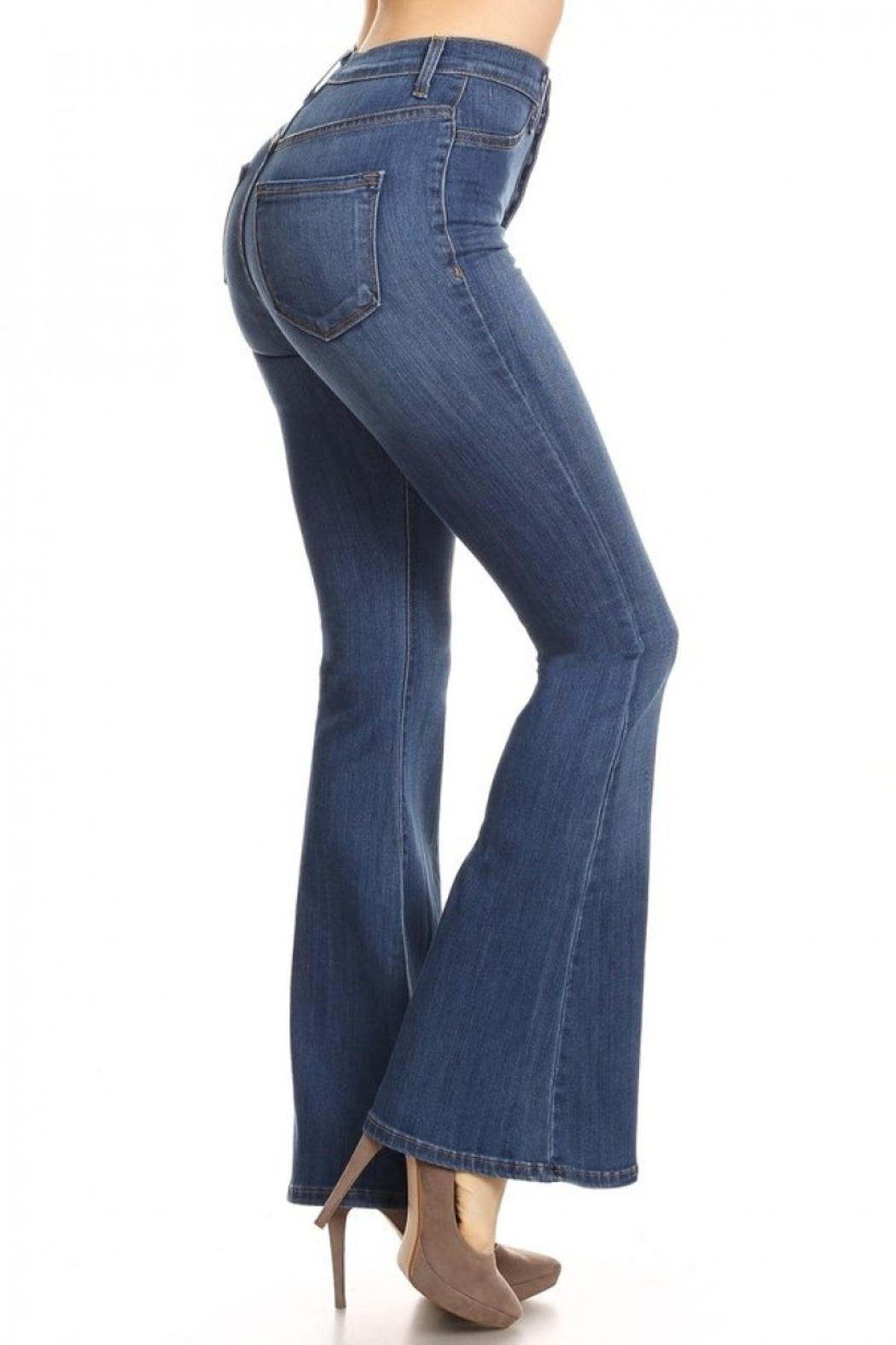 Vibrant MIU Bell Bottom Jeans - Front Full Image