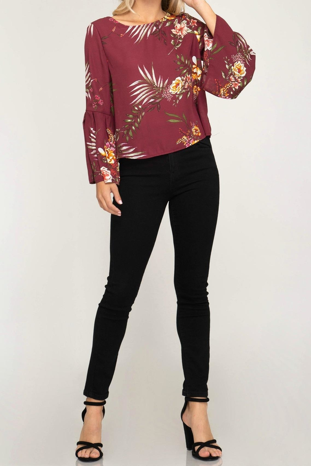 She + Sky Bell Sleeve Blouse - Side Cropped Image