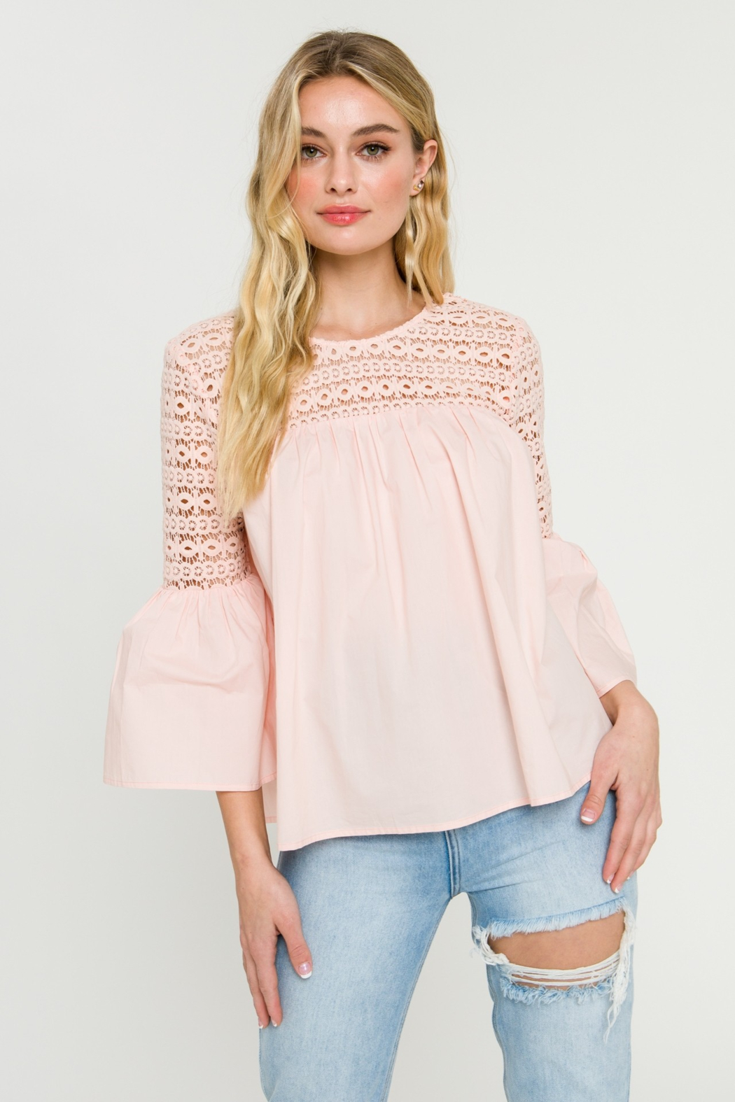 La Ven Bell Sleeve Blouse - Front Cropped Image