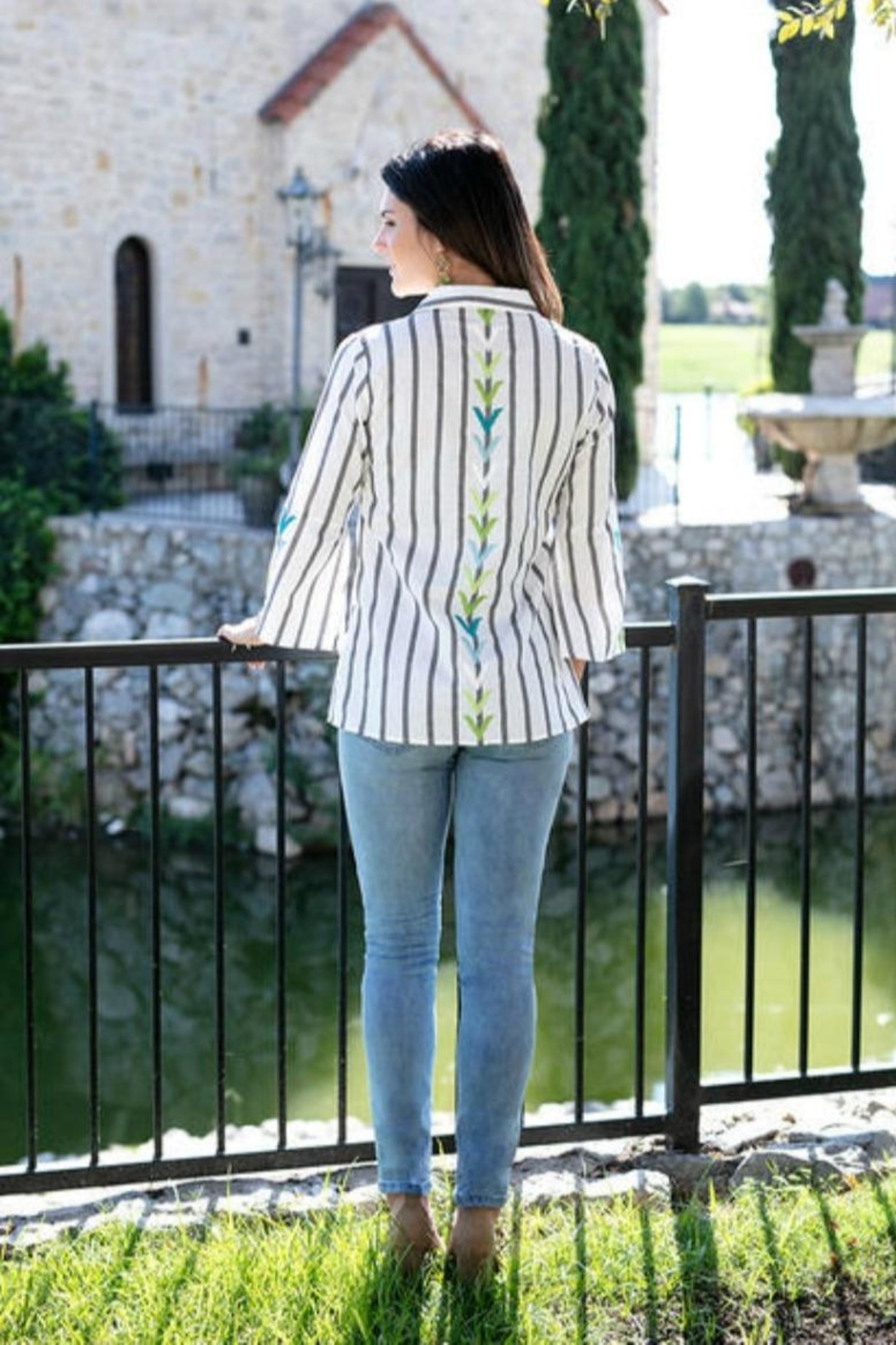Sharon Young Bell Sleeve Button-Up - Front Full Image