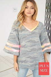 White Birch  Bell Sleeve Camouflage Knit Top - Product Mini Image