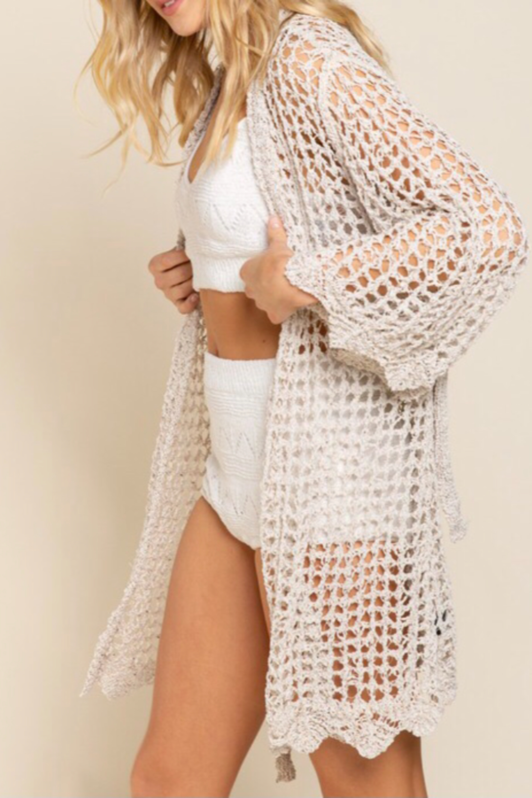 POL  Bell sleeve cardigan - Front Full Image