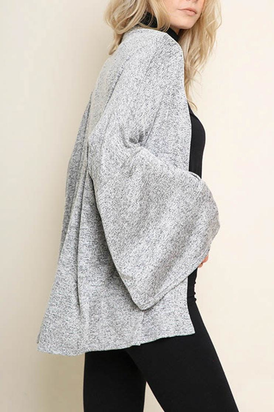Umgee Bell-Sleeve Cardigan, Gray - Front Cropped Image