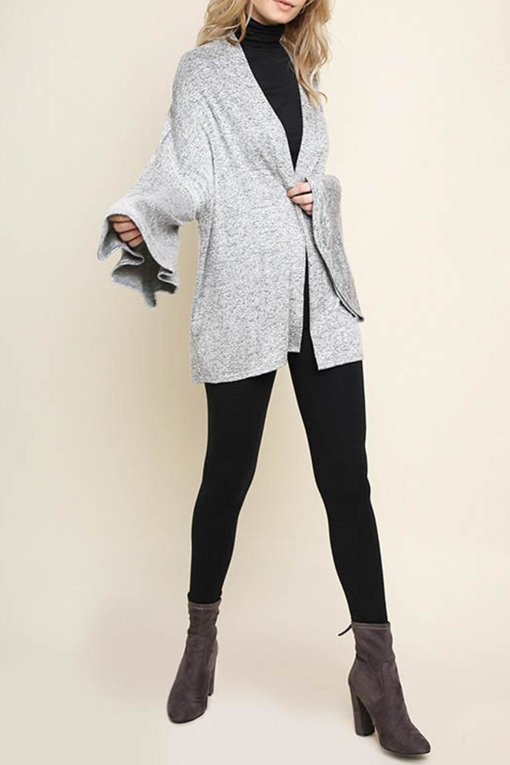 Umgee Bell-Sleeve Cardigan, Gray - Front Full Image