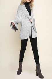 Umgee Bell-Sleeve Cardigan, Gray - Front full body