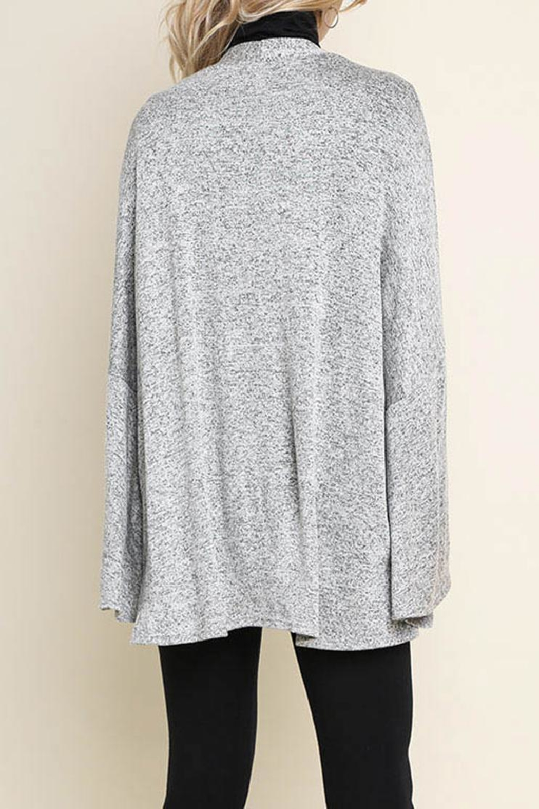 Umgee Bell-Sleeve Cardigan, Gray - Back Cropped Image