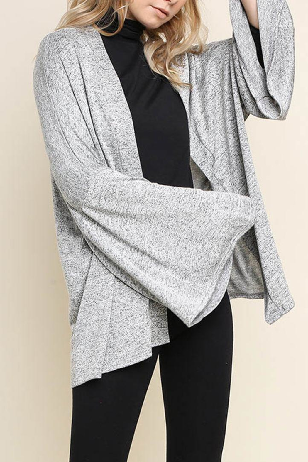 Umgee Bell-Sleeve Cardigan, Gray - Side Cropped Image