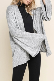 Umgee Bell-Sleeve Cardigan, Gray - Side cropped
