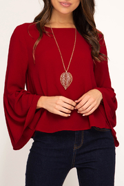 She + Sky Bell Sleeve Classic top - Product Mini Image