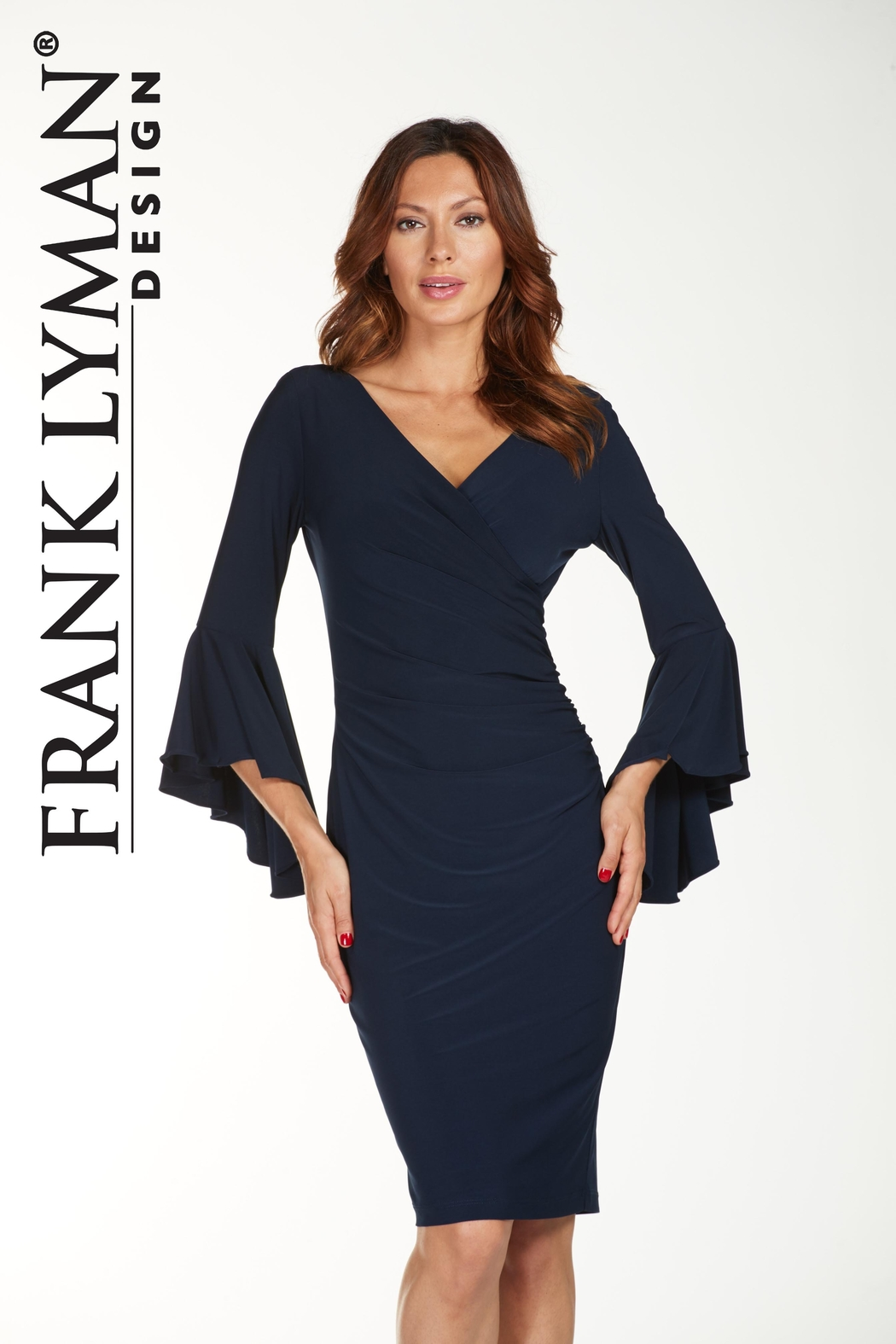 Frank Lyman Bell Sleeve Dress, Midnight Blue - Front Cropped Image