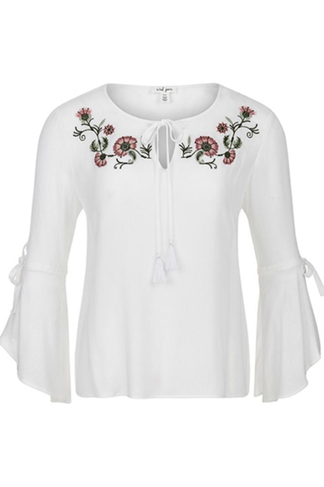 Tribal Bell-Sleeve Embroidered Blouse - Main Image