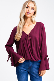 MONTREZ BELL SLEEVE FAUX WRAP BLOUSE - Product Mini Image