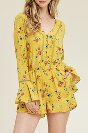 Riah Fashion Bell-Sleeve Floral Romper - Product Mini Image