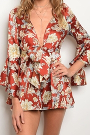 Petalroz Bell-Sleeve Floral Romper - Product Mini Image