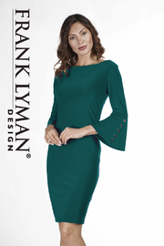 Frank Lyman Bell Sleeve Grommet Dress, Teal - Product Mini Image