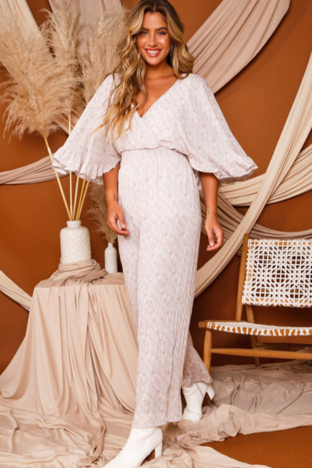 Peach Love California Bell Sleeve Jumpsuit - Front Full Image