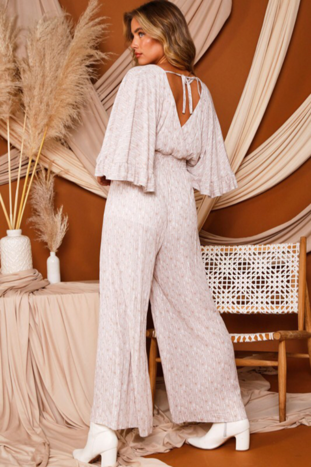 Peach Love California Bell Sleeve Jumpsuit - Side Cropped Image