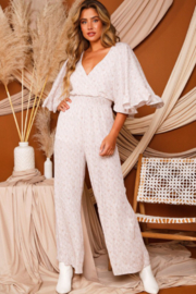 Peach Love California Bell Sleeve Jumpsuit - Front cropped