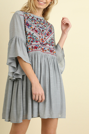 Umgee  Bell Sleeve Keyhole Dress - Front cropped