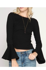 She + Sky Bell-Sleeve Knit Top - Product Mini Image