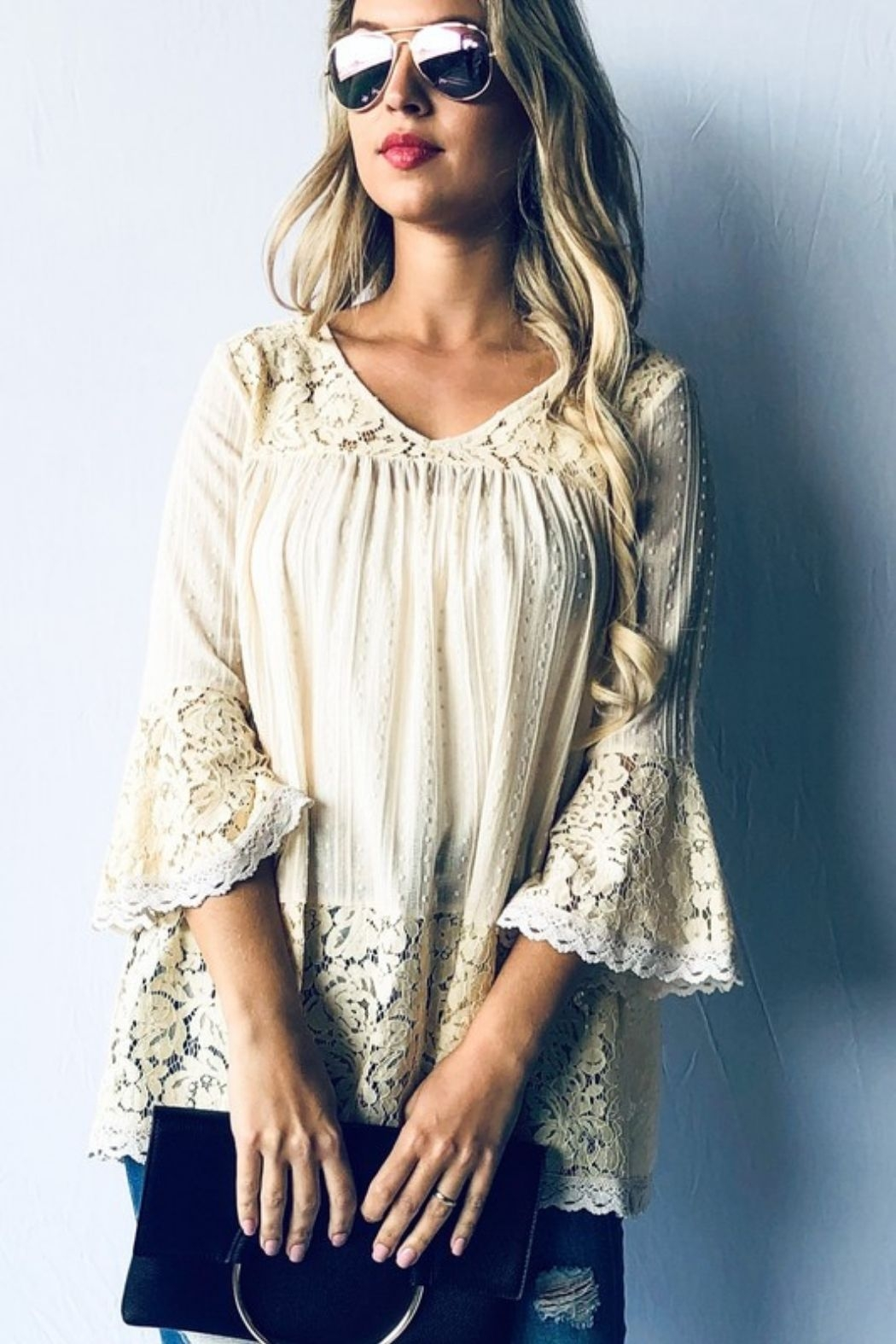 andthewhy Bell Sleeve Lace Tunic Top - Main Image