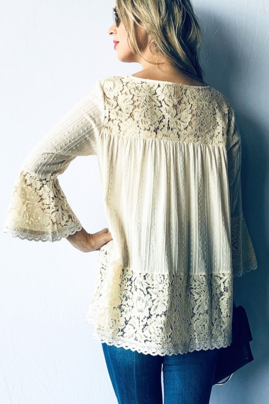 andthewhy Bell Sleeve Lace Tunic Top - Front Full Image