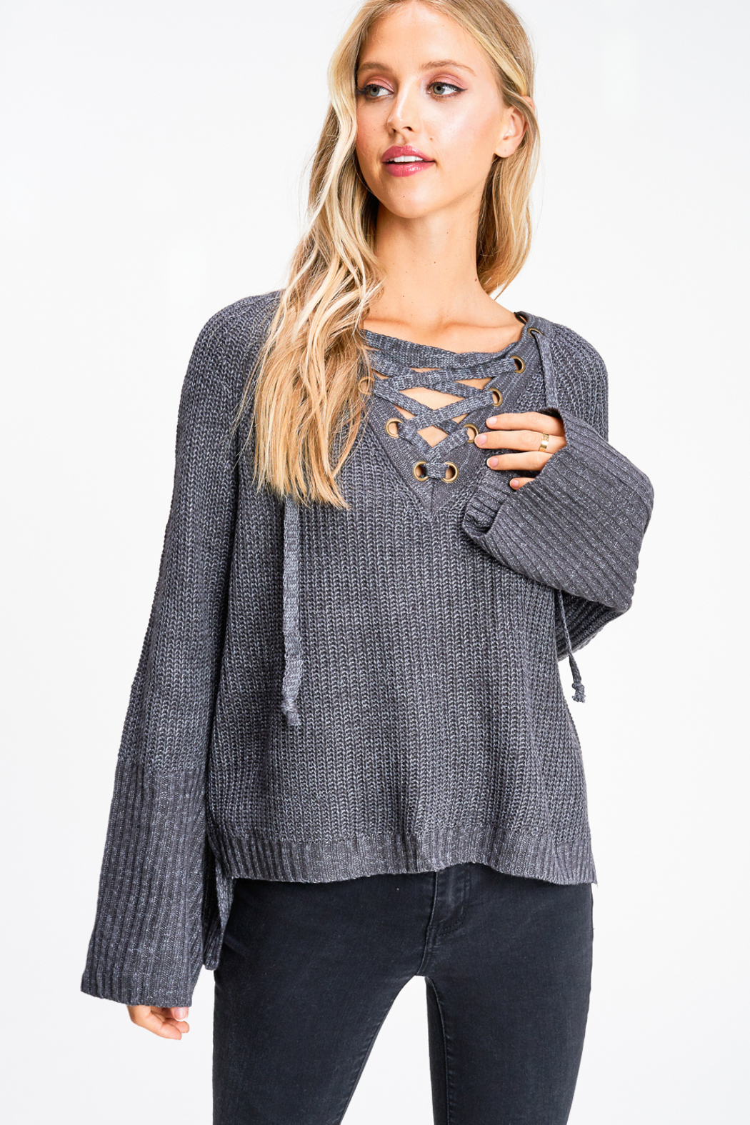 MONTREZ Bell sleeve lace up ribbed sweater - Main Image