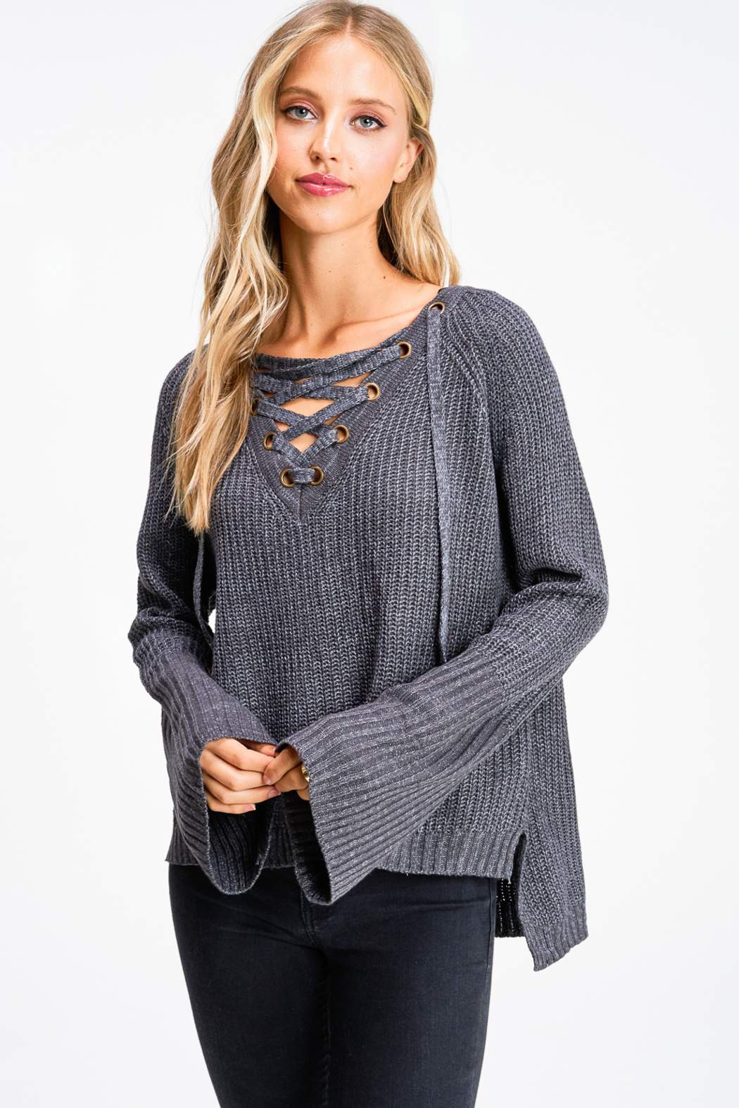 MONTREZ Bell sleeve lace up ribbed sweater - Front Full Image