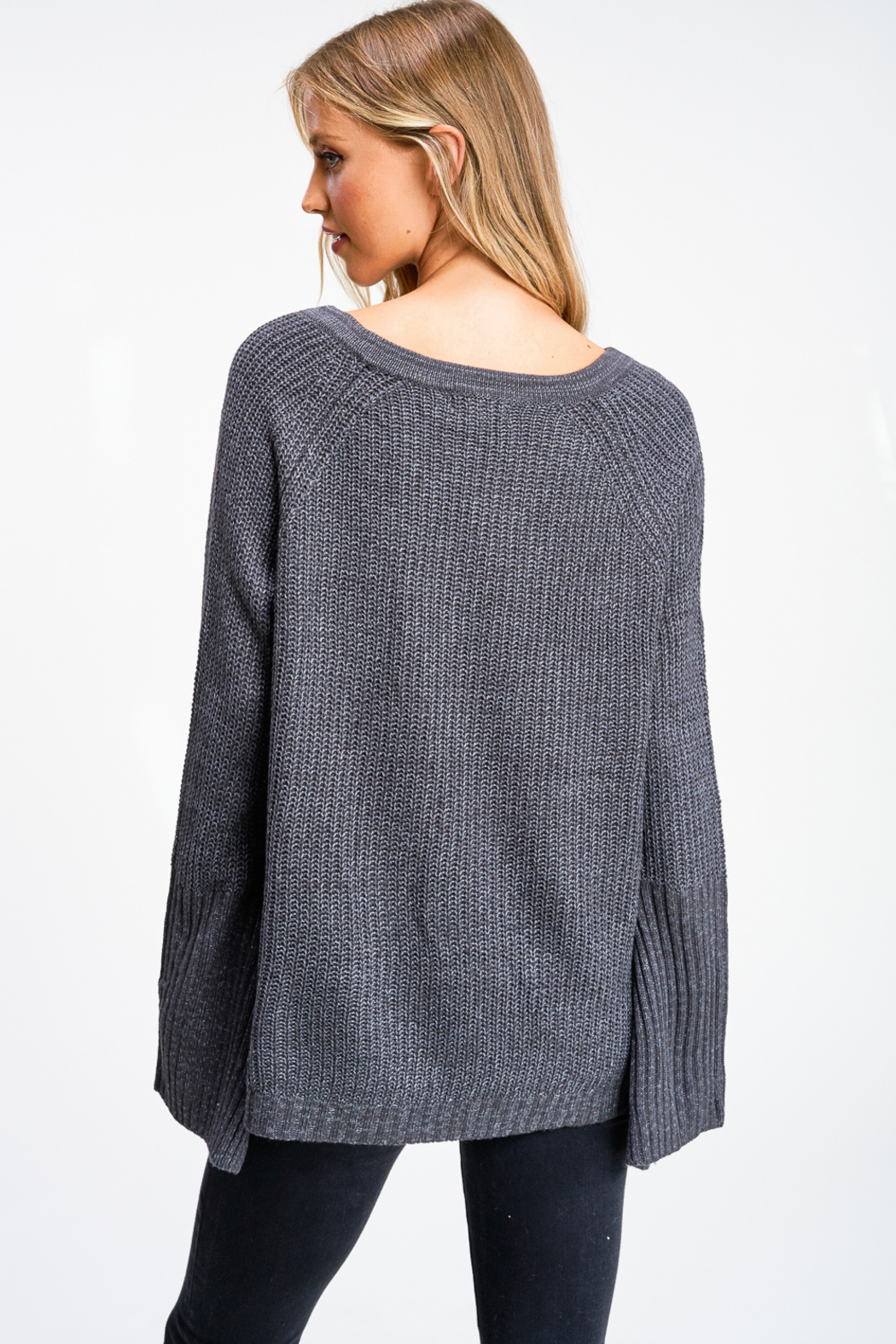 MONTREZ Bell sleeve lace up ribbed sweater - Back Cropped Image