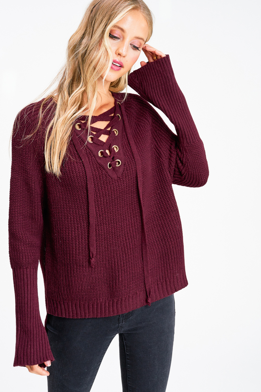 MONTREZ Bell sleeve lace up ribbed sweater - Front Cropped Image