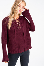 MONTREZ Bell sleeve lace up ribbed sweater - Front cropped