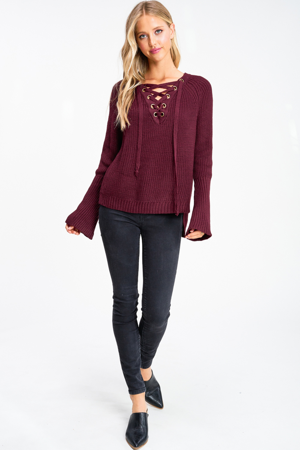 MONTREZ Bell sleeve lace up ribbed sweater - Side Cropped Image