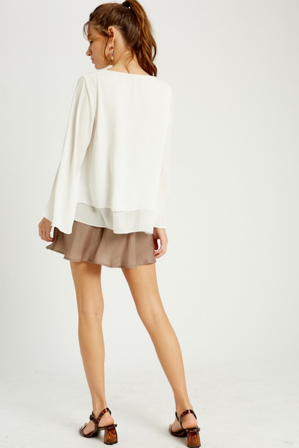 Wishlist Bell Sleeve Layered Blouse - Side Cropped Image