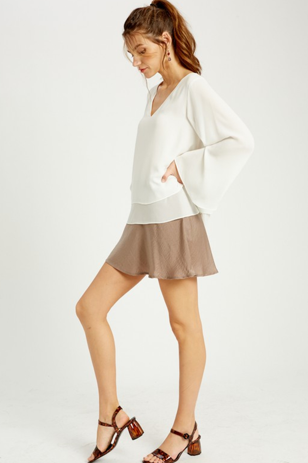 Wishlist Bell Sleeve Layered Blouse - Front Full Image