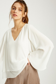 Wishlist Bell Sleeve Layered Blouse - Back cropped