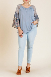 Umgee  Bell Sleeve Mixed Print Top - Product Mini Image