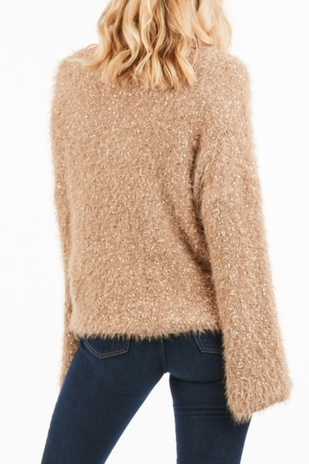Very J  Bell Sleeve Nubby Knit Sweater - Front Full Image