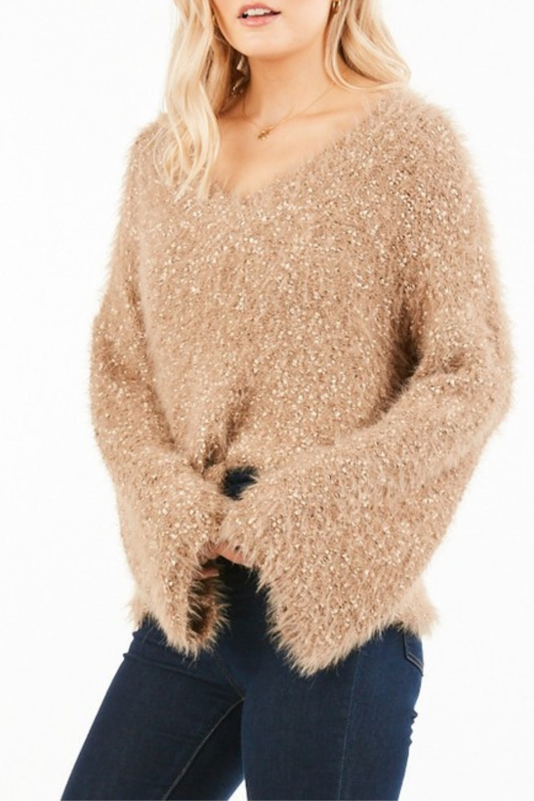 Very J  Bell Sleeve Nubby Knit Sweater - Side Cropped Image