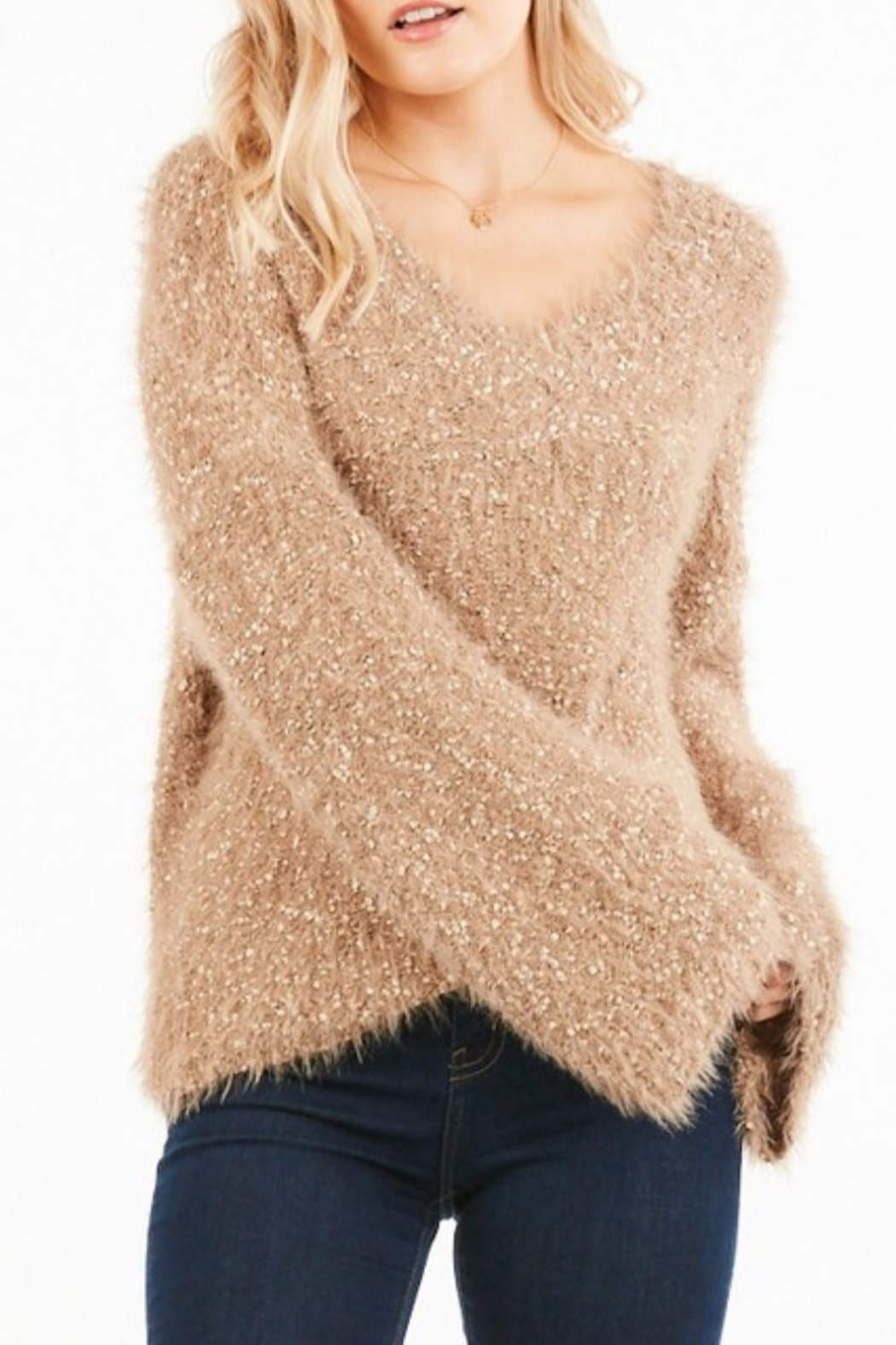 Very J  Bell Sleeve Nubby Knit Sweater - Main Image