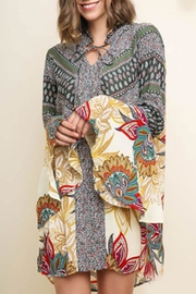 Umgee USA Bell-Sleeve Paisley Dress - Front cropped