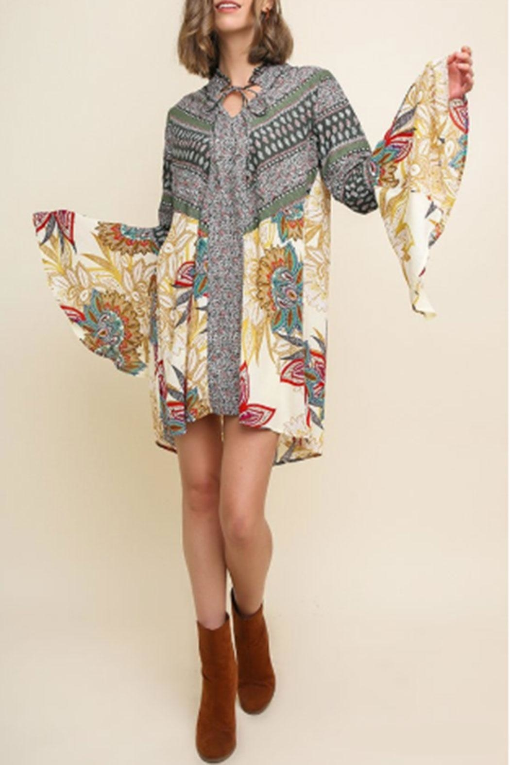Umgee USA Bell-Sleeve Paisley Dress - Front Full Image