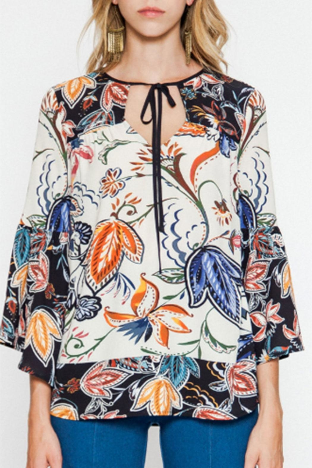 Flying Tomato Bell-Sleeve Printed Blouse - Main Image