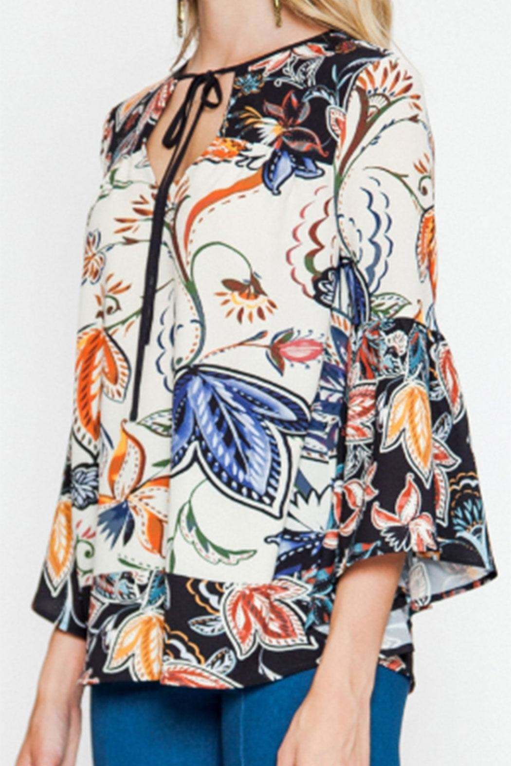 Flying Tomato Bell-Sleeve Printed Blouse - Side Cropped Image