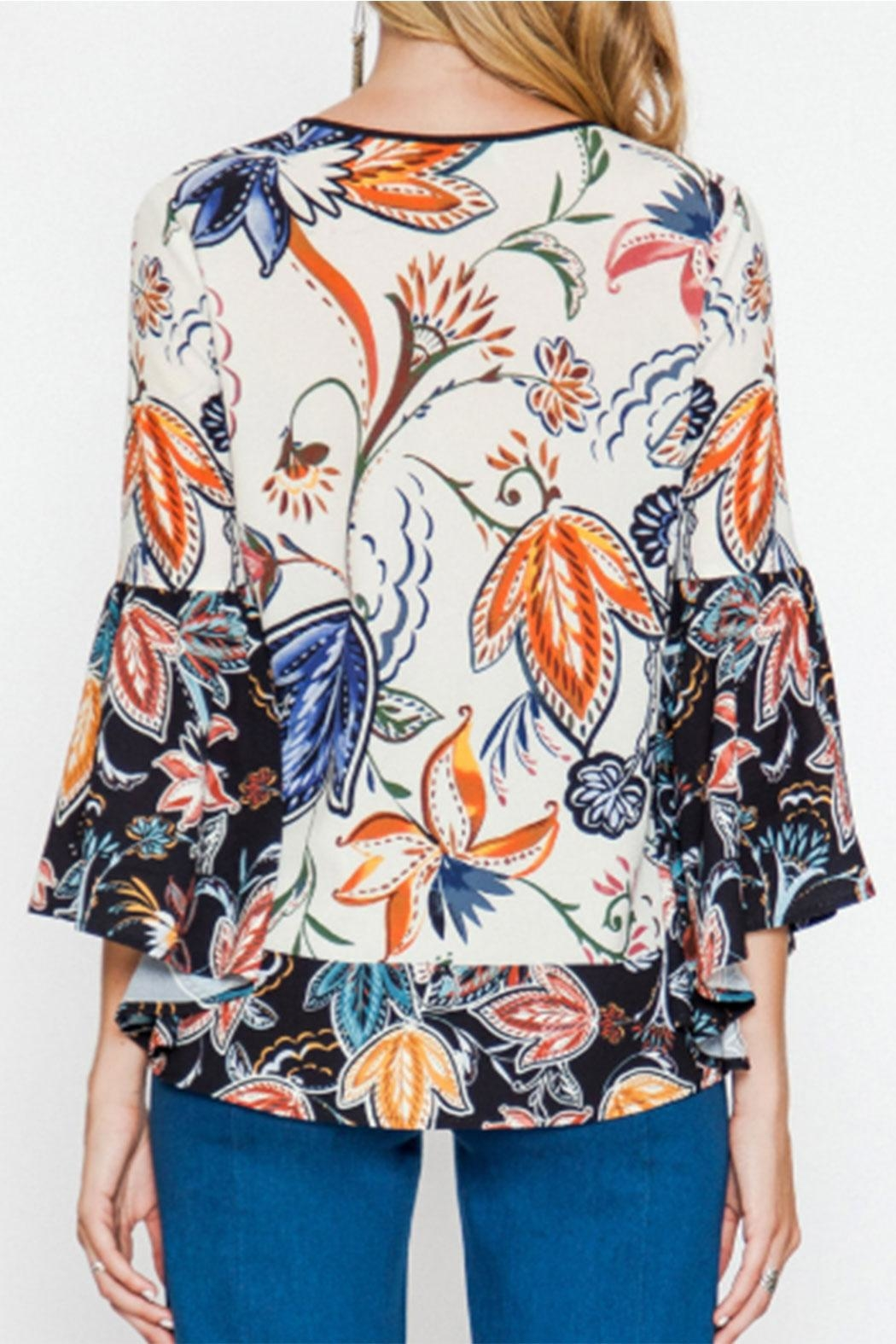 Flying Tomato Bell-Sleeve Printed Blouse - Front Full Image