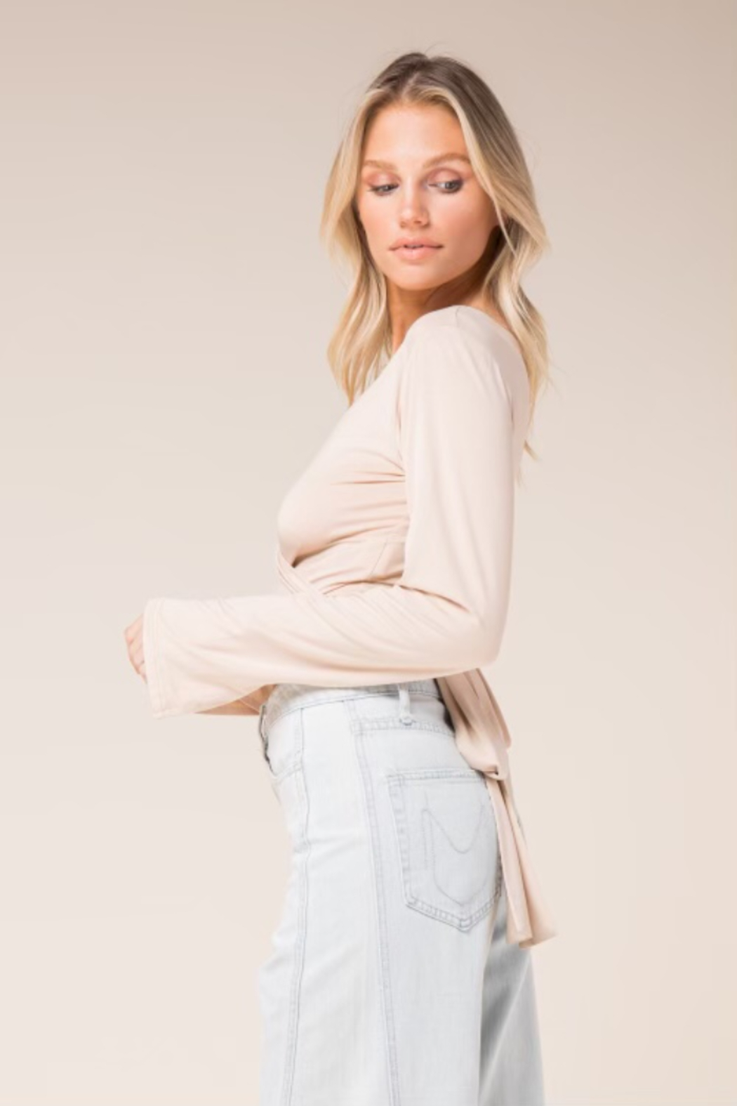 Skylar & Madison Bell Sleeve Stretch Wrap Top - Front Cropped Image